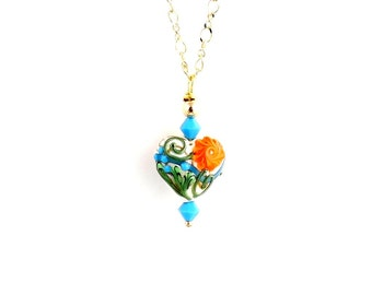 Floral Heart Lampwork Necklace, Beaded Necklace, Fashion Jewelry, Lampwork Jewelry, Gifts, Valentine Day, Mother's Day