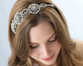 Vintage Bridal Headband, Rhinestone Wedding Headband, Bride Headband, Crystal Bridal Headband, Bridal Hair Accessory, Side Headband ~TI-3221