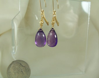 Amethyst  14k Solid gold leverback briolette 13mm x 8mm wide x 5.9mm earrings handmade item 856