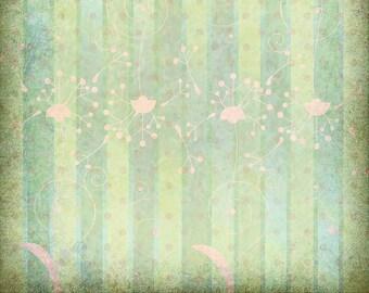 Downloadable Scrapbook Paper, Green Dandelion Stripes