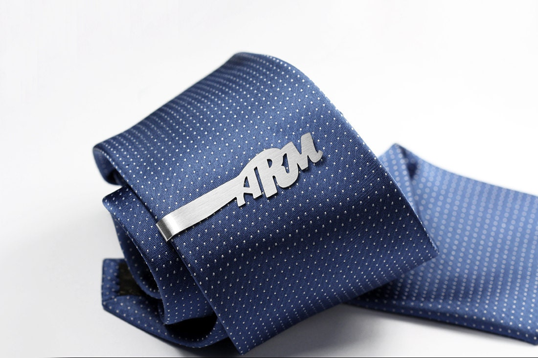 monogram tie clip personalized with initials sterling by