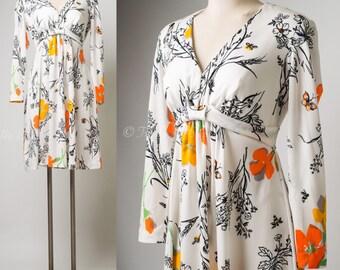 60s Dress, Vintage White Dress, Vintage Floral Dress, Babydoll dress, Mad Men dress, mini dress -S/M