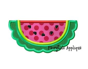 Digital Machine Embroidery Design - Scalloped Watermelon Applique