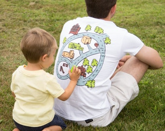 Gift for Dad - Funny Dad T-Shirt - WHITE Race Track Shirt - Road Map on Back of Shirt - Gift from Son - Play Mat