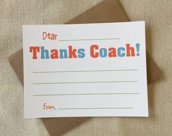 CF820 - thanks coach fill-in thank you - set of 8 with KRAFT envelopes