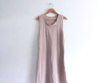 Simple Red Striped 70s Dress