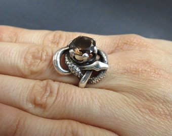 Entwined Serpents Ring - Sculpted Sterling Silver Ring with Two Snakes and a Crown with Smoky Quartz