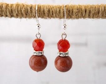 Goldstone and Carnelian Earrings