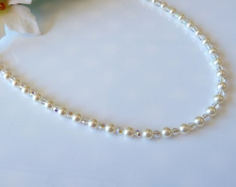 Swarovski Long Necklace in Cream Pearl and Crystal AB Crystals- Swarovski Pearl Long Necklace- Item KBD-482