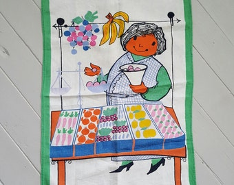 vintage Tea Towel Market Lady Zucchi