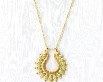 Long Gold Necklace, Mint Necklace, Gold Mint Necklace, Pendant Necklace Gold, Everyday Jewelry, Charm Necklace, E35LN