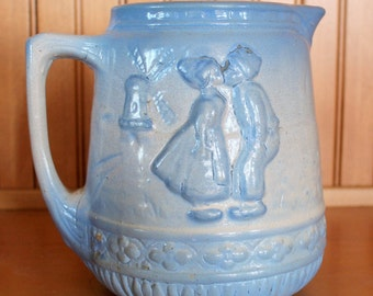 Large Antique SALT-GLAZED PITCHER Buttermilk Stoneware - Lovely Dutch Kissing Scene - Blue and White - Primitive Cottage Chic
