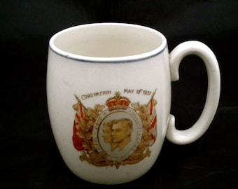 1937 Royal Mug, Coronation of King George VI and Queen Elizabeth, Collectible Mug, English Royal Family, Royal Souvenir,  English Royalty