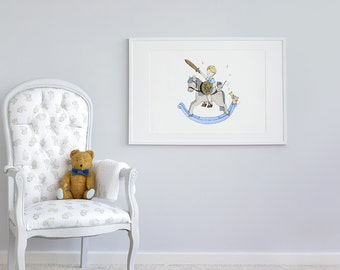 Large children's Art, UNFRAMED Big print for Kids, Extra large picture, Poster for boys, Prince wall Art, Blue Rocking Horse, Nursery Art