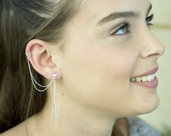 Silver ear cuff, Chains ear cuff earring, Rectangular double chain drop bar double chain triple band earring, Double sided silver ear wrap