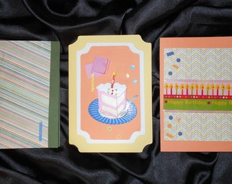 Free ship Set of 3 Happy Birthday Cards