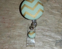 Trendy Retractable Id Badge holder, gold and seafoam green cotton print, LPN, RN, Nurse,Dr.,MD,Medical Student, retracrable  badge
