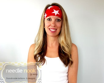 The Red Stars Yoga Headband - Spandex Headband - Boho Wide Headband