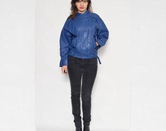 Vintage 80's Blue Real Leather Jacket /Blue Genuine Leather Jacket / Blue Leather Zipper Jacket