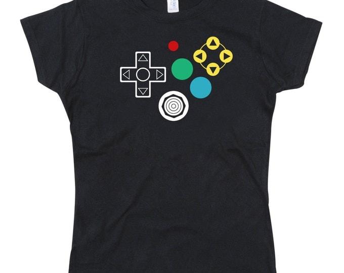 Ladies N64 Controller Joypad Buttons Tshirt