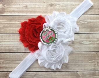 Christmas Bow Headband, Baby First Christmas Headband, Christmas Flower Headband, First Christmas Bow, Baby Girl Headband, Holiday Headband