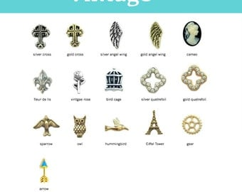 Floating Charm for Glass Lockets, VINTAGE Charms for Memory Locket, Personalized Locket Charm, Add Charms to our Floating Locket Pendants.