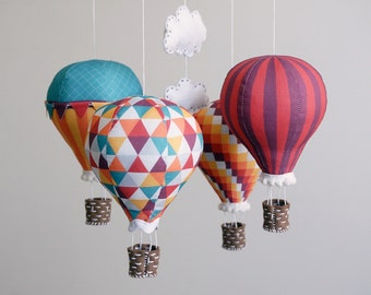 Nursery decor DIY baby mobile kit hot air balloon - modern nursery decor, carnival, red, green