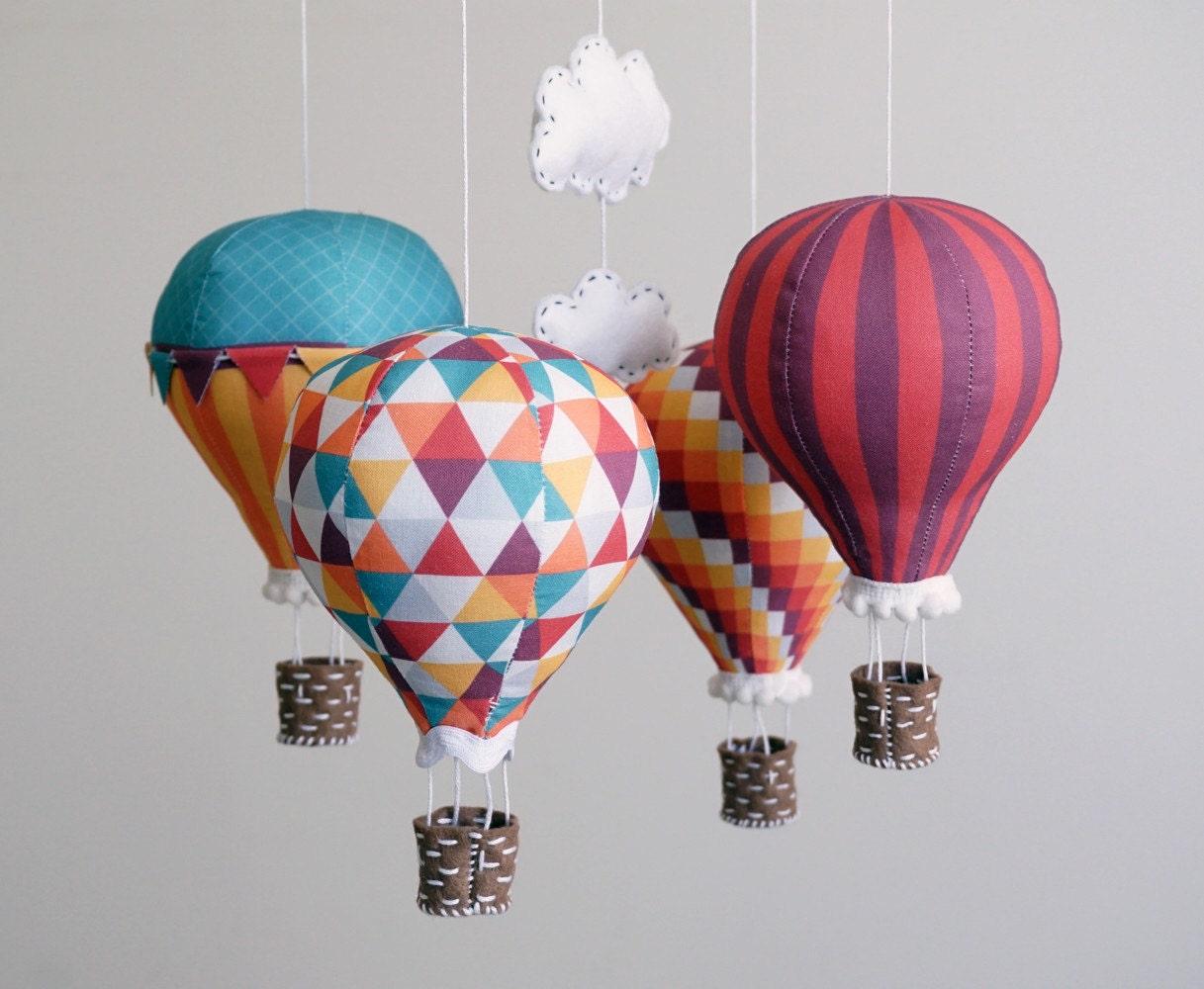 Nursery decor diy baby mobile kit hot air balloon modern for Balloon decoration kit