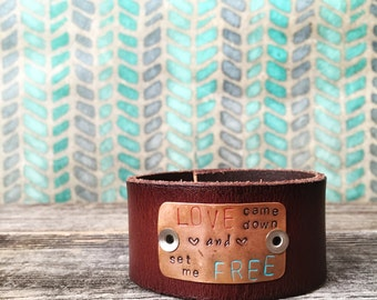 Custom Stamped Leather Cuff - womens leather cuff, brown leather