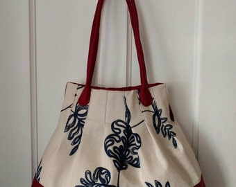 Navy and beige embroidered tote! Great market bag, diaper bag, hand bag.
