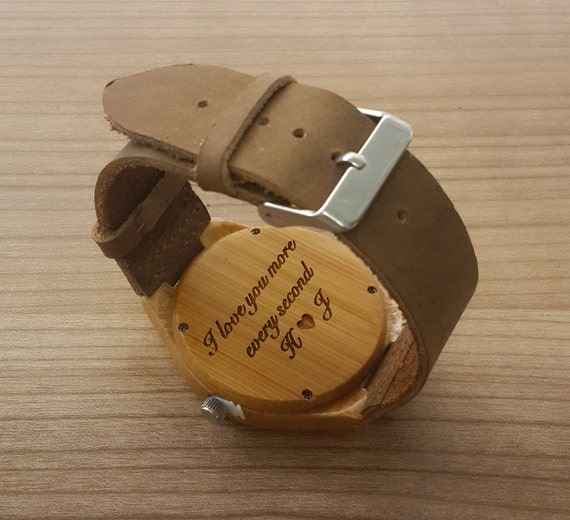 Engraved mens wooden watch bamboo personalized by sfdizayn on etsy for Watches engraved