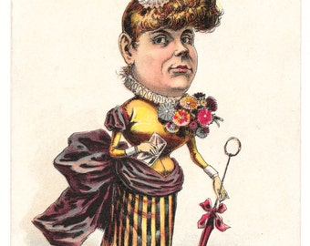A Stunner in Her Own Mind Victorian Card, c. 1880