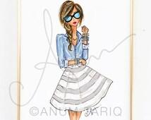 "Fashion Illustration Print, Chambray and Stripes, 8x10"""