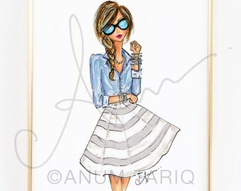 Fashion Illustration Print, Chambray and Stripes, 8x10""