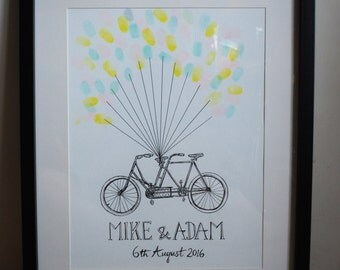 Personalised Custom Hand Drawn Illustrated Wedding Guest Art Fingerprint Balloon Tandem Bike Bicycle A3