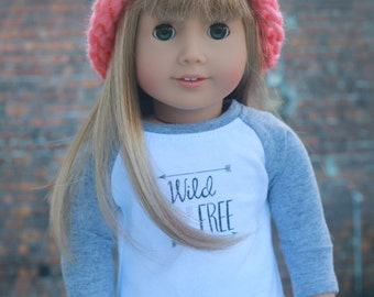 AG Doll Clothes | Watermelon Pink Knitted BEANIE HAT for 18 Inch Dolls such as American Girl