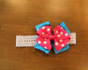 Pink polkda dot and blue hair bow baby headband