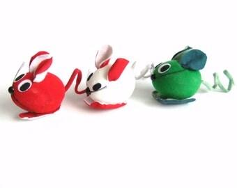 Christmas Mice Ornaments, Vintage Japan Christmas Decorations Ornaments, Kitschy Christmas Decor, Red Green White Flocked Mice