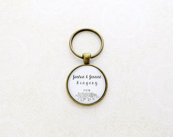Personalized Key Chain With Name, Last Name, Wedding Date - Wedding Gift