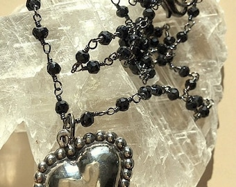Vintage Scalloped and Beaded Edged Oxidized Sterling Silver Heart With 18 Inch Black Rosary Style Chain Necklace