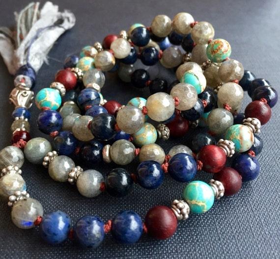 108 Gemstone Prayer Beads - Dumortierite, Labradorite & Rosewood Mala Beads - Mantra Mala - Protection Mala Beads - Third Eye Chakra Mala