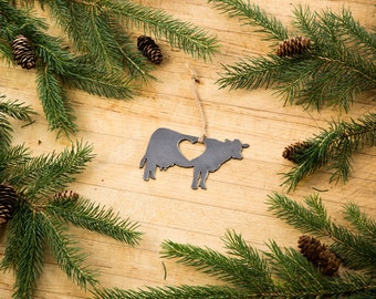 Love Cow Christmas Ornament Rustic Metal Animal Ornament Recycled Steel Holiday Gift Industrial Decor Wedding Favor Iron Maid Art
