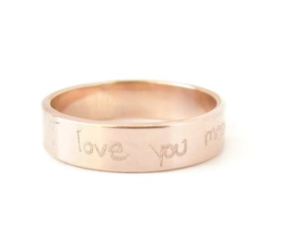 Gift, Custom Handwriting Jewelry, Personalized Gold Ring, Actual Handwriting Ring, Handwritten Jewelry, Memorial Jewelry, Rose Gold Ring