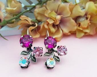 Pink Flower Earrings, Swarovski Pink Crystal Earrings, Hot Pink Fuchsia Rhinestone Earrings, Crystal AB Leverbacks, Ladies Jewelry, E3030