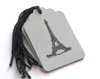Paris Eiffel Tower Tags 6 Wedding bridal shower party food favors black and gray