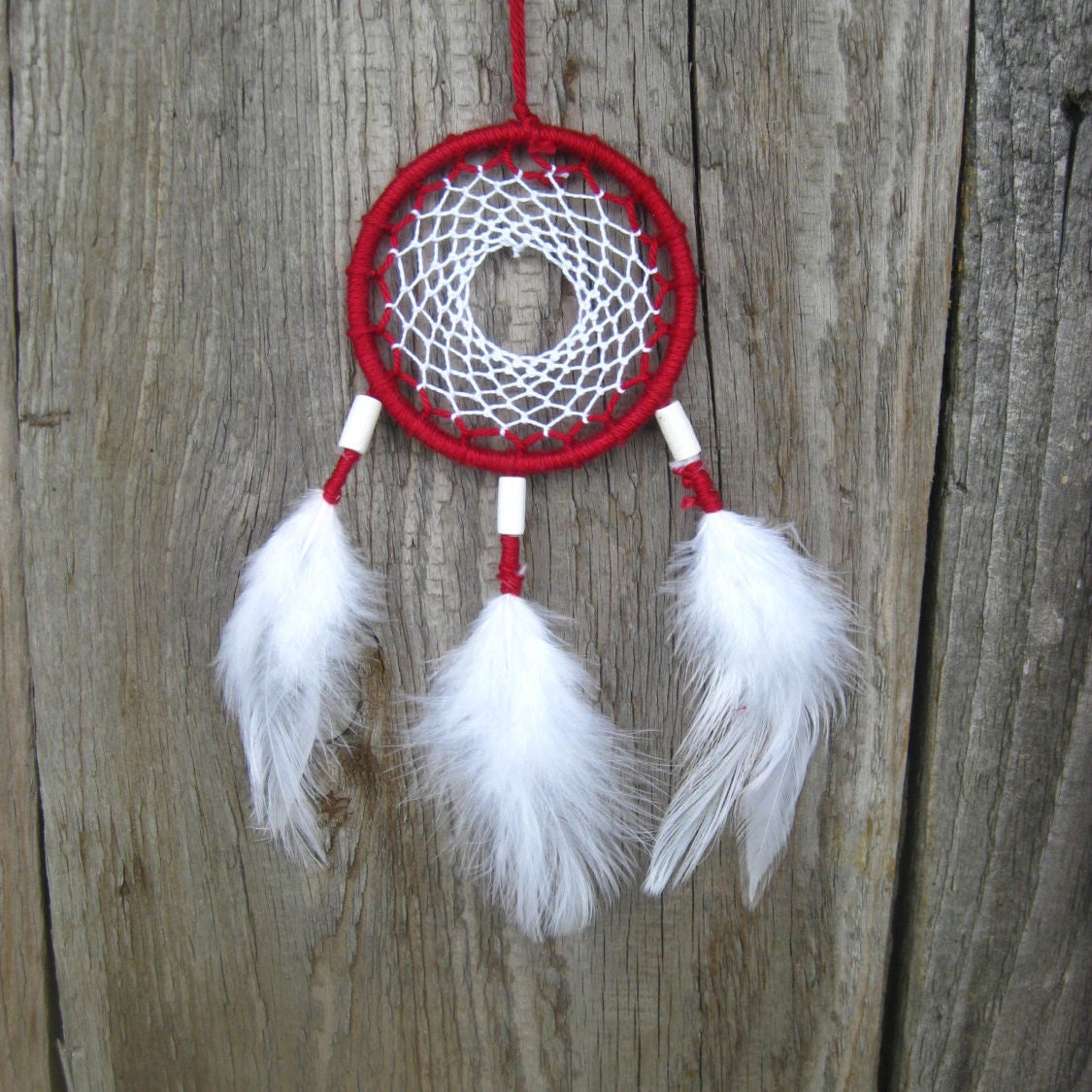 Red white car dream catcher red white dreamcatcher small dream for Dreamcatcher beads meaning