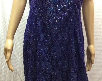 Channa, Blue Bead Dress, XL, Royal Blue