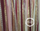 Burgundy, Blush Pink, Marsala & Gold Sparkle Sequin Fabric Backdrop with Lace - Wedding Garland, Photo Prop, Curtain, Baby Shower