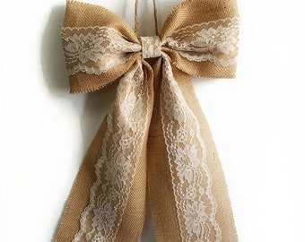 Pew Bows, Burlap and Lace Bow, Rustic Wedding Decor, Burlap Bow, Burlap and Lace Wedding Bows, Bridal Shower Decor, Home Decor