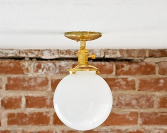 "Free Shipping! Semi Flush Solid Raw Brass 8"" White Opal Globe Flush Mount Industrial Modern Ceiling Lighting Polished Nickel Gold UL Listed"